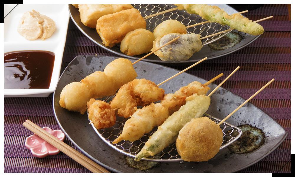 ななや銀座のディナーメニューは日本酒に合う串揚げをご用意しています
